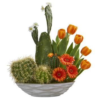 23 Cactus Floral Garden Artificial Arrangement - SKU #A1229