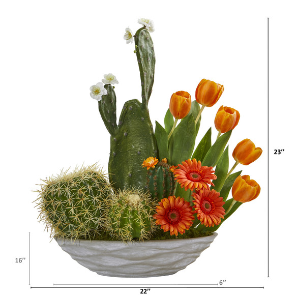 23 Cactus Floral Garden Artificial Arrangement - SKU #A1229 - 1