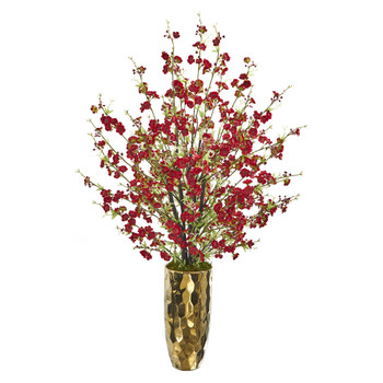 33 Cherry Blossom Artificial Arrangement in Gold Vase - SKU #A1230-RD