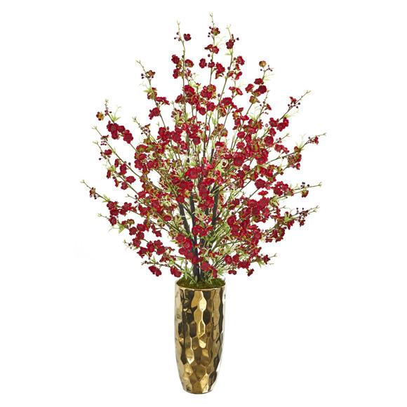 33 Cherry Blossom Artificial Arrangement in Gold Vase - SKU #A1230-RD