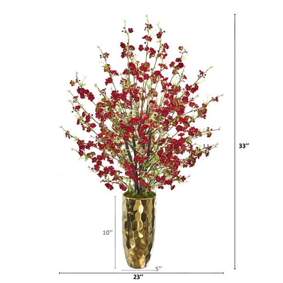 33 Cherry Blossom Artificial Arrangement in Gold Vase - SKU #A1230-RD - 1