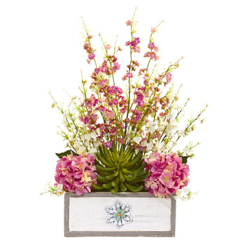 25 Cherry Blossom Hydrangea and Succulent Artificial Arrangement in Decorative Wood Vase - SKU #A1231