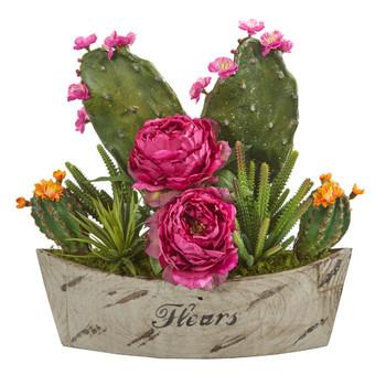 17 Peony Succulent and Cactus Artificial Arrangement in Decorative Vase - SKU #A1232-OR