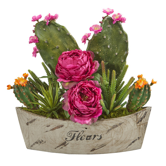 17 Peony Succulent and Cactus Artificial Arrangement in Decorative Vase - SKU #A1232-OR