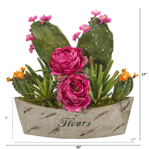 17 Peony Succulent and Cactus Artificial Arrangement in Decorative Vase - SKU #A1232-OR - 1