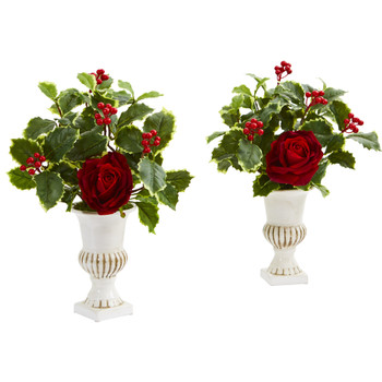 15 Rose and Holly Leaf Artificial Arrangement in White Urn Set of 2 - SKU #A1236-S2