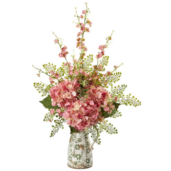27 Cherry Blossom Hydrangea and Maiden Hair Artificial Arrangement in Floral Pitcher - SKU #A1237-PK