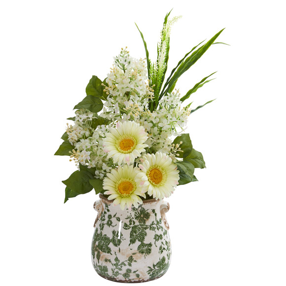 21 Gerber Daisy Lilac and Grass Artificial Arrangement in Floral Vase - SKU #A1238