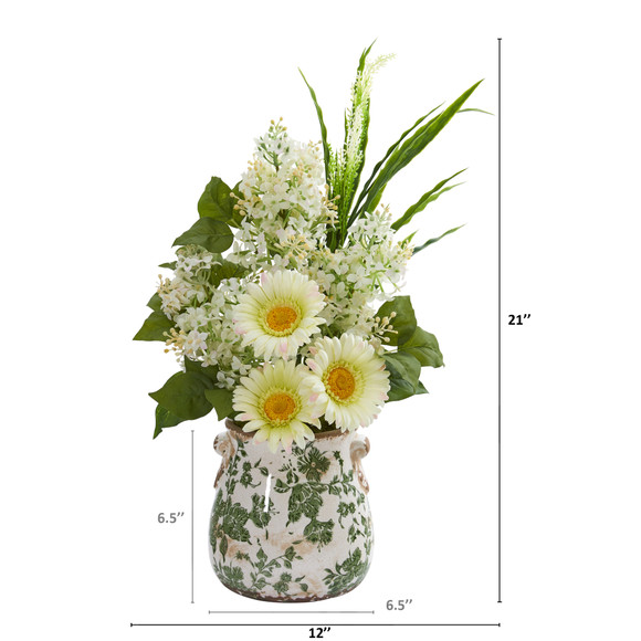 21 Gerber Daisy Lilac and Grass Artificial Arrangement in Floral Vase - SKU #A1238 - 1