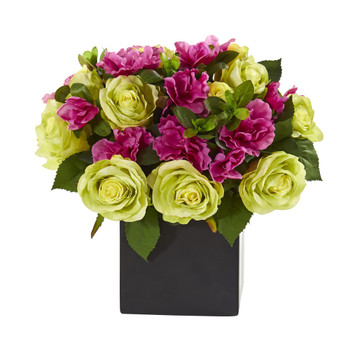 10 Rose and Azalea Artificial Arrangement in Black Vase - SKU #A1239