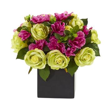 10 Rose and Azalea Artificial Arrangement in Black Vase - SKU #A1239