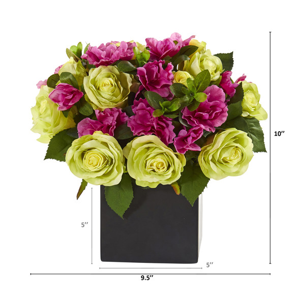 10 Rose and Azalea Artificial Arrangement in Black Vase - SKU #A1239 - 1