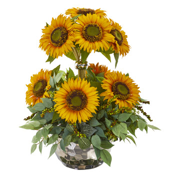 21 Sunflower and Mixed Greens Artificial Arrangement in Silver Vase - SKU #A1240