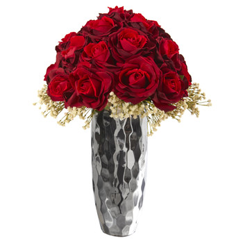 20 Rose and Gypsophillia Artificial Arrangement in Silver Vase - SKU #A1241