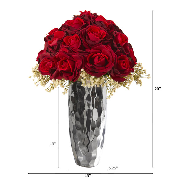 20 Rose and Gypsophillia Artificial Arrangement in Silver Vase - SKU #A1241 - 1