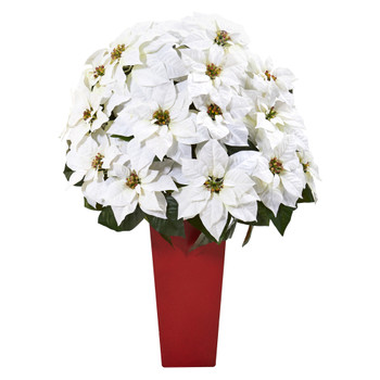32 Poinsettia Artificial Arrangement in Red Vase - SKU #A1242