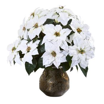 24 Poinsettia Artificial Arrangement in Designer Vase - SKU #A1243