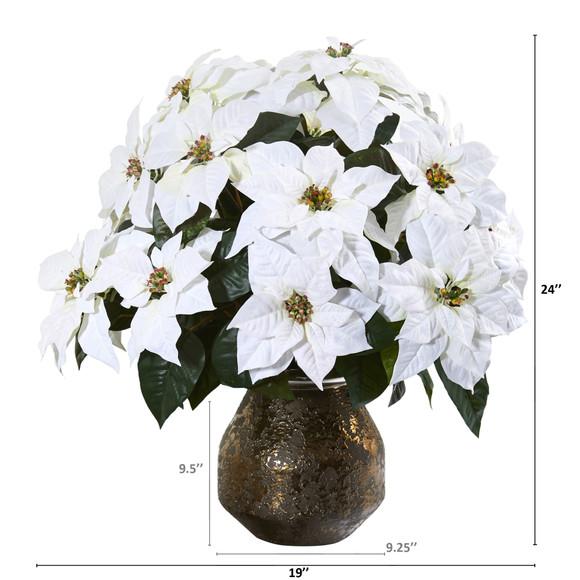 24 Poinsettia Artificial Arrangement in Designer Vase - SKU #A1243 - 1