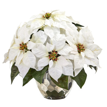 14 Poinsettia Artificial Arrangement in Designer Silver Bowl - SKU #A1244