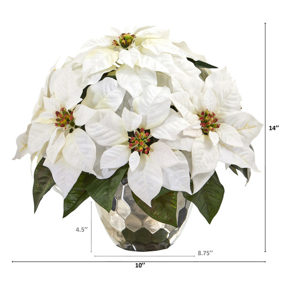 14 Poinsettia Artificial Arrangement in Designer Silver Bowl - SKU #A1244 - 1