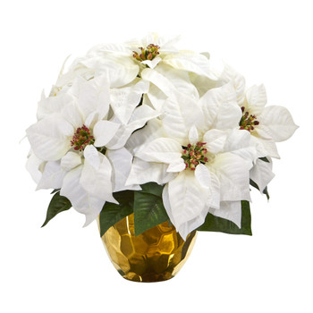 13 Poinsettia Artificial Arrangement in Designer Gold Vase - SKU #A1245