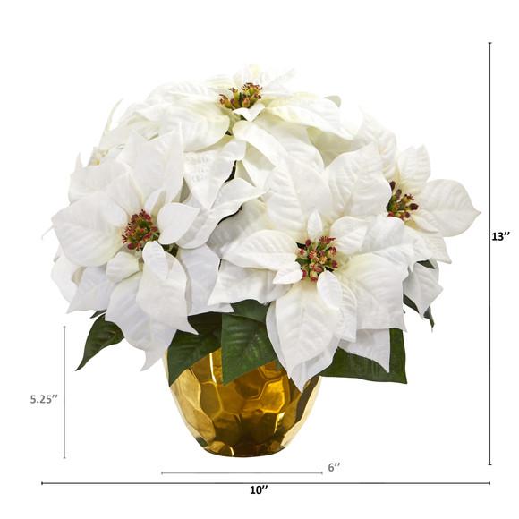 13 Poinsettia Artificial Arrangement in Designer Gold Vase - SKU #A1245 - 1