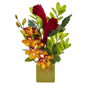 22 Cymbidium Orchid Ginger and Zamioculcas Artificial Arrangement in Green Vase - SKU #A1246