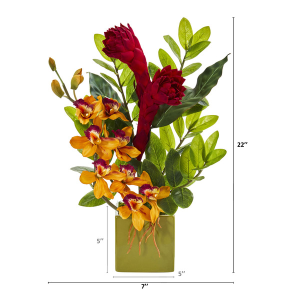 22 Cymbidium Orchid Ginger and Zamioculcas Artificial Arrangement in Green Vase - SKU #A1246 - 1