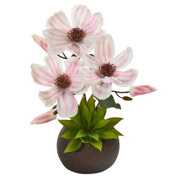 15 Magnolia and Succulent Artificial Arrangement in Stone Vase - SKU #A1248