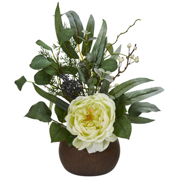 14 Rose and Eucalyptus Artificial Arrangement in Stone Brown Vase - SKU #A1249