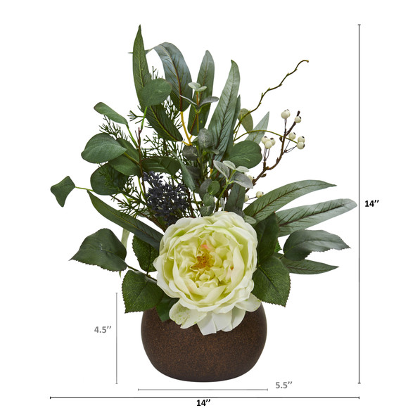 14 Rose and Eucalyptus Artificial Arrangement in Stone Brown Vase - SKU #A1249 - 1