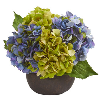 12 Hydrangea Artificial Arrangement in Stone Brown Vase - SKU #A1250