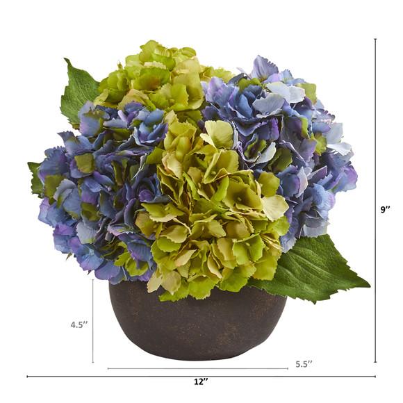 12 Hydrangea Artificial Arrangement in Stone Brown Vase - SKU #A1250 - 1
