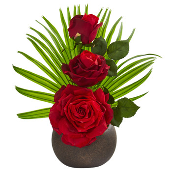 14 Elegant Rose Artificial Arrangement in Stone Brown Vase - SKU #A1251