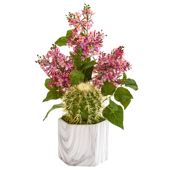 18 Lilac and Cactus Artificial Arrangement in Marble Vase - SKU #A1252
