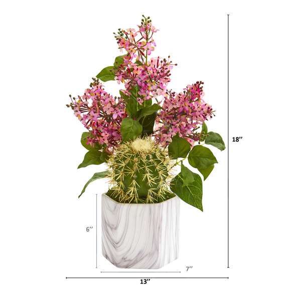 18 Lilac and Cactus Artificial Arrangement in Marble Vase - SKU #A1252 - 1