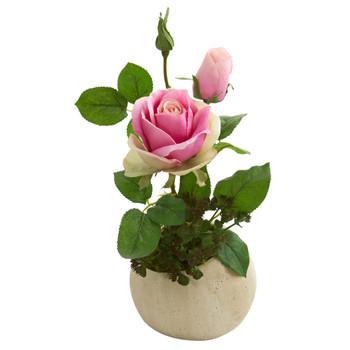 14 Rose and Sedum Succulent Artificial Arrangement in Stone Gray Vase - SKU #A1253