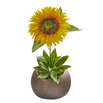 13 Sunflower and Agave Artificial Arrangement in Stone Vase - SKU #A1254