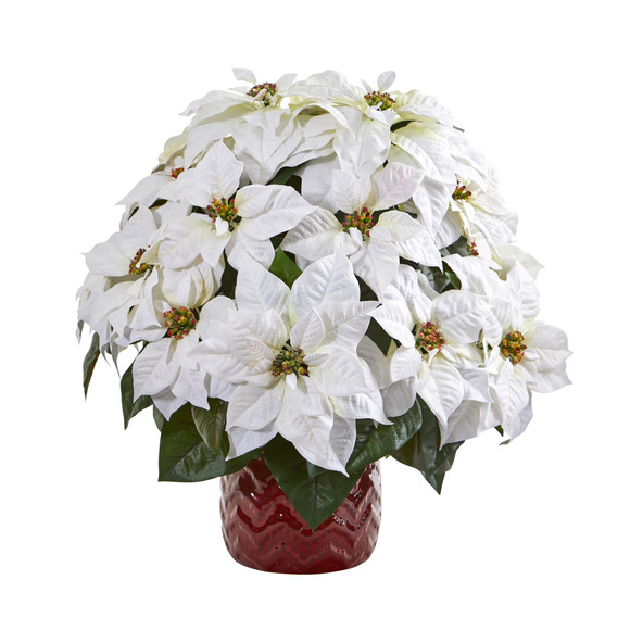 21 White Poinsettia Artificial Arrangement in Red Vase - SKU #A1255