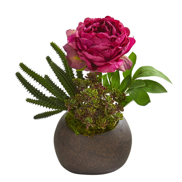 12 Peony and Succulent Artificial Arrangement in Stone Vase - SKU #A1256