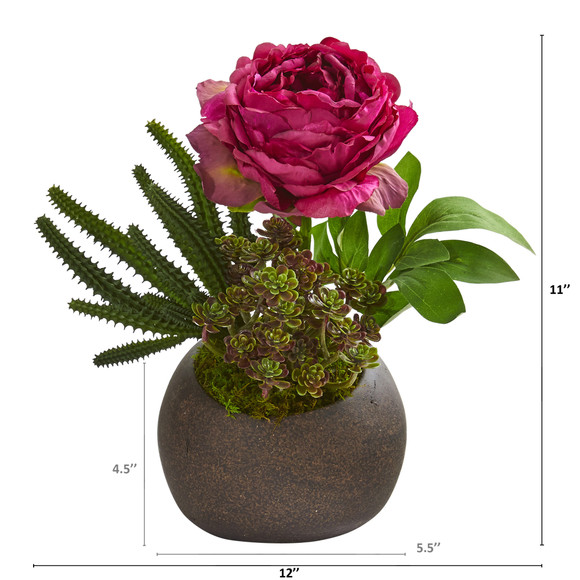 12 Peony and Succulent Artificial Arrangement in Stone Vase - SKU #A1256 - 1