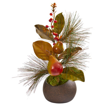 16 Pear Pine and Magnolia Leaf Artificial Arrangement in Stone Vase - SKU #A1257