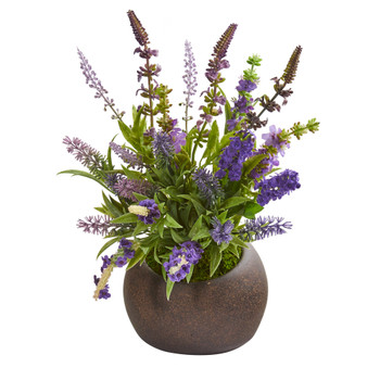 14 Lavender Artificial Arrangement in Stone Vase - SKU #A1258