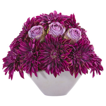 16 Dahlia and Rose Artificial Arrangement in Gray Vase - SKU #A1259-PP