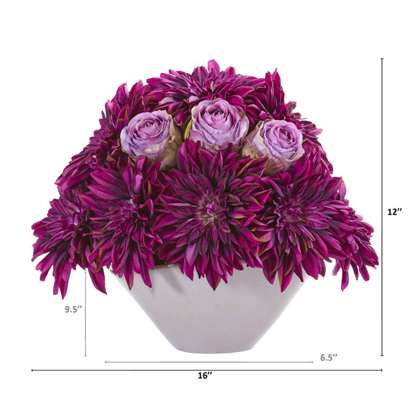 16 Dahlia and Rose Artificial Arrangement in Gray Vase - SKU #A1259-PP - 1