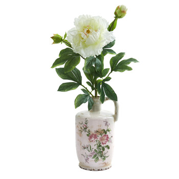 22 Peony Artificial Arrangement in Floral Pitcher - SKU #A1260