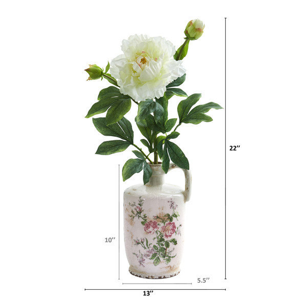 22 Peony Artificial Arrangement in Floral Pitcher - SKU #A1260 - 1