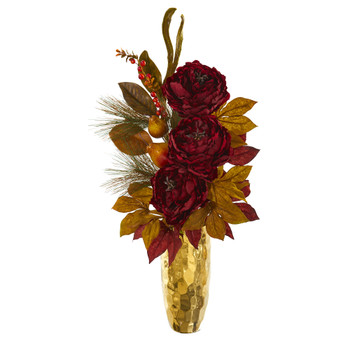 30 Peony Pear and Magnolia Leaf Artificial Arrangement in Gold Vase - SKU #A1261