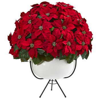 33 Grand Poinsettia Artificial Arrangement in White Vase with Metal Stand - SKU #A1262
