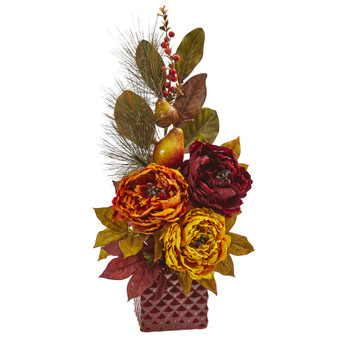 25 Peony Pear and Magnolia Leaf Artificial Arrangement in Red Vase - SKU #A1263-AS